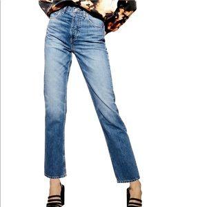 Topshop high rise editor straight leg cropped jean